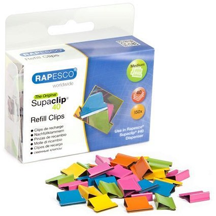 Rapesco Supaclip 40 Refill Clips / Multicoloured / Pack of 150