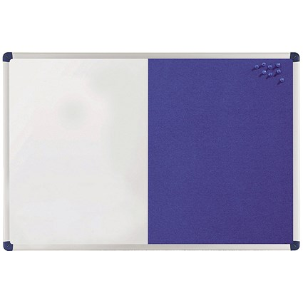 Nobo Classic Combination Board / Felt & Magnetic Drywipe / W1200xH900mm / Blue