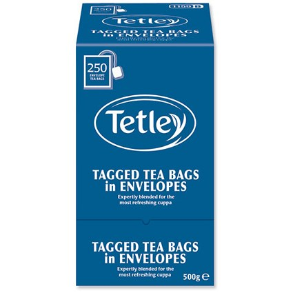 Tetley High Quality Tagged Envelope Tea Bags / Individually Wrapped / Pack of 250