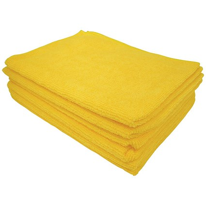 5 Star Microfibre Cloths, Multisurface, Yellow, Pack of 6