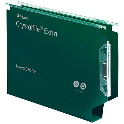 Rexel CrystalFile Extra Lateral Files / Plastic / 330mm Width / 30mm Square Base / Green / Pack of 25
