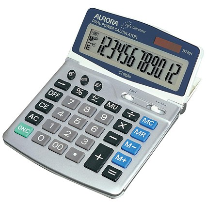 Aurora Desktop Calculator / 12 Digit / 4 Key / Battery/Solar Power / Grey