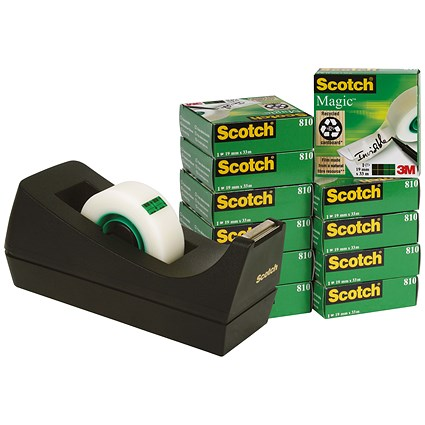 Scotch Magic Tape 12 rolls with FREE Dispenser - 19mmx33m