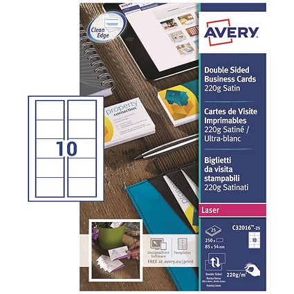Avery Quick & Clean Laser Satin Business Cards / 85mm x 54mm / 10 per Sheet / 220gsm / Pack of 250
