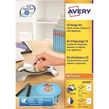 Avery afterBURNER Label System Software with Applicator / 10 Inserts / AB1800 / 24 Labels