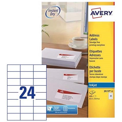 Avery Quick DRY Inkjet Addressing Labels, 24 per Sheet, 63.5x33.9mm, White, J8159-25, 600 Labels