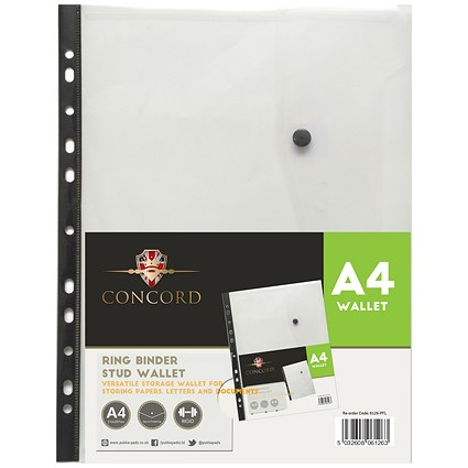 Concord A4 Ring Binder Stud Wallet / Clear / Pack of 5