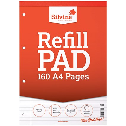 Silvine Headbound Refill Pad / A4 / Punched & Perforated / Feint Ruled / 160 Pages / Pack of 6