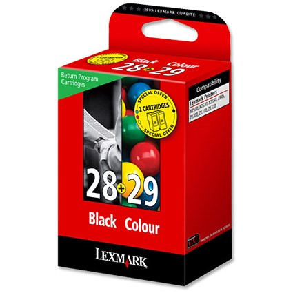 Lexmark 28/29 Black and Colour Inkjet Cartridges (2 Cartridges)