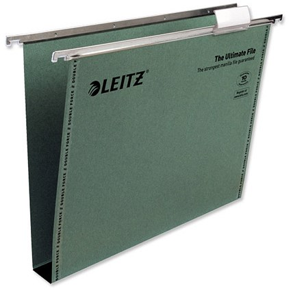 Leitz Ultimate Recycled Suspension Files, Square Base, 30mm Capacity, A4, Green, Pack of 50
