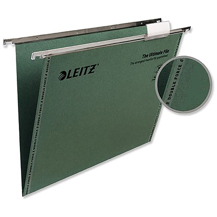 Leitz Ultimate Recycled Suspension Files with Tabs & Inserts / V Base / 15mm Capacity / Foolscap / Green / Pack of 50
