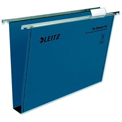 Leitz Ultimate Recycled Suspension Files with Tabs & Inserts / Square Base / 30mm Capacity / Foolscap / Blue / Pack of 50