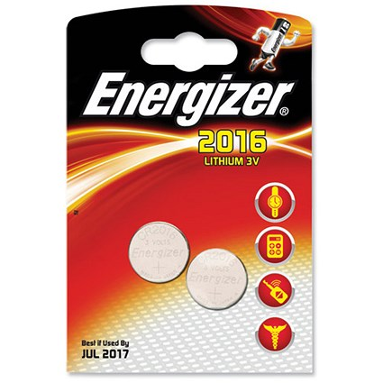 Energizer CR2016 Lithium Battery for Small Electronics / 5000LC / 90mAh / 3V / Pack of 2