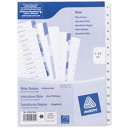 Avery Index Dividers / Unpunched / 1-15 / A4 / White / Pack of 5