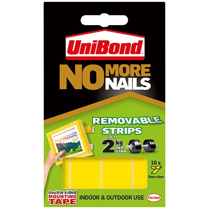 Unibond 'No More Nails' Strips, Ultra Strong, Removable, Pack of 10