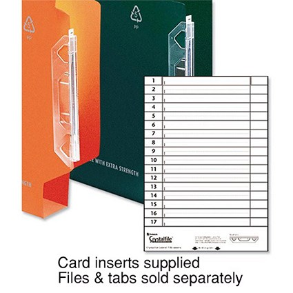 Rexel CrystalFiles Extra Card Inserts, White, Pack of 34