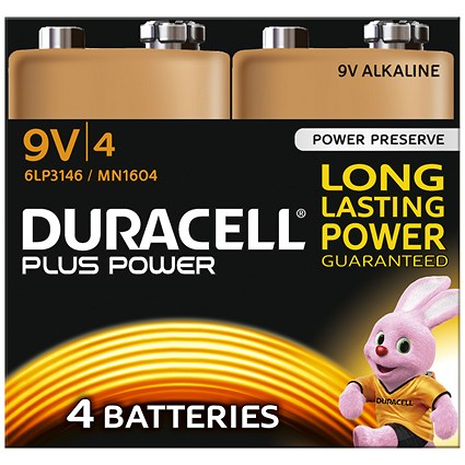 Duracell Plus Power Alkaline Battery / 9V / Pack of 4