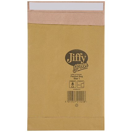 Jiffy Green No.1 Padded Bags / 165x280mm / Pack of 25