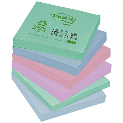 Post-it Recycled Notes / 76x76mm / Pastel Rainbow / Pack of 12 x 100 Notes