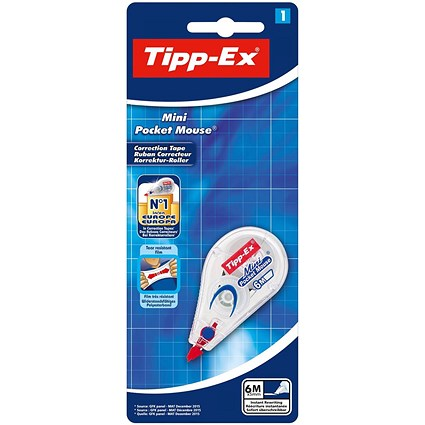 Tipp-Ex Mini Pocket Mouse Correction Tape Roller / 5mmx6m / Pack of 10