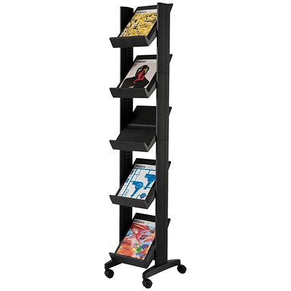 Fast Paper Mobile Literature Display Corner / 5 Shelves / Black