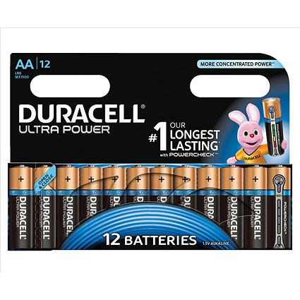 Duracell Ultra Power MX1500 Alkaline Battery, 1.5V, AA, Pack of 12