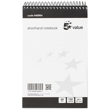Everyday Shorthand Pad, 127x200mm, Ruled, 300 Pages, Pack of 5