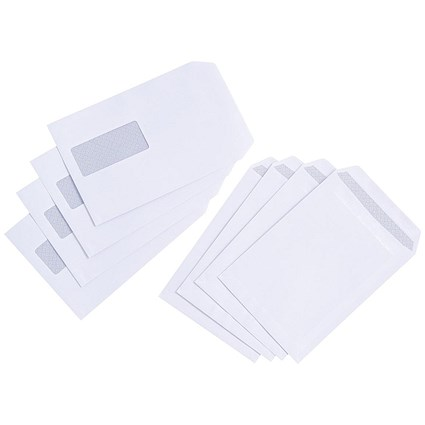 Everyday C5 Pocket Envelopes / Window / White / Press Seal / 90gsm / Pack 500