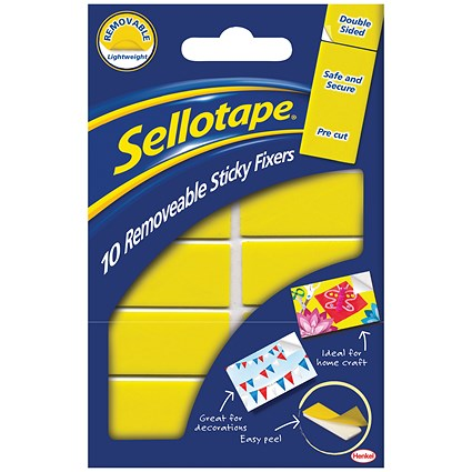 Sellotape Double-sided Sticky Fixers, Removable, 20 x 50mm, 10 Pads, Pack of 12