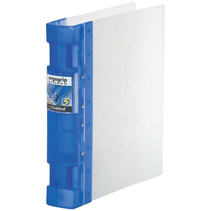 Guildhall GLX Ergogrip Binder / A4 / 4x 2 Prong / 40mm Capacity / Frost Cobalt Blue / Pack of 2
