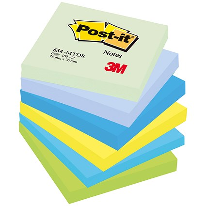 Post-it Colour Notes / 76x76mm / Dreamy Palette Rainbow Colours / Pack of 6 x 100 Notes