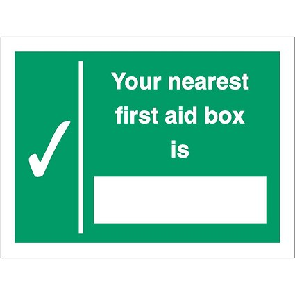 Stewart Superior Your Nearest First Aid Box Is Sign W200xH150mm Self Adhesive Vinyl