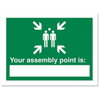 Stewart Superior Your Assembly Point Is Sign Write-on W200xH150mm Polypropylene