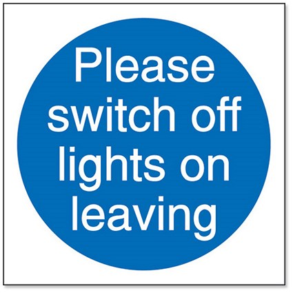 Stewart Superior Please Switch Off Lights Signs W100xH100 Self-adhesive Vinyl [Pack 5]
