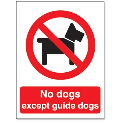 Stewart Superior No Dogs Except Guide Dogs Sign W150xH200mm Self-adhesive Vinyl