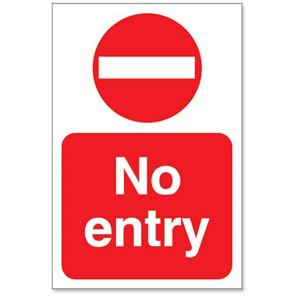 Stewart Superior No Entry Sign Outdoor Use W200xH300mm Foamboard