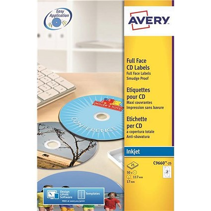 Avery Inkjet CD/DVD Labels / 2 per Sheet / 117mm Diameter / Photo Quality Glossy / C9660-25 / 50 Labels