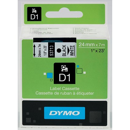 Dymo D1 Tape for Electronic Labelmakers 24mmx7m Black on White Ref 53713 S0720930