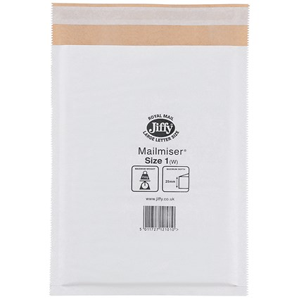 Jiffy Mailmiser No.1 Bubble-lined Protective Envelopes / 170x245mm / White / Pack of 100