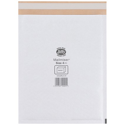 Jiffy Mailmiser No.4 Bubble-lined Protective Envelopes, 240x320mm, White, Pack of 50