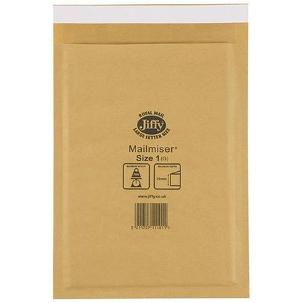 Jiffy Mailmiser No.1 Bubble-lined Protective Envelopes / 170x245mm / Gold / Pack of 100