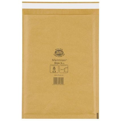 Jiffy Mailmiser No.3 Bubble-lined Protective Envelopes / 220x320mm / Gold / Pack of 50