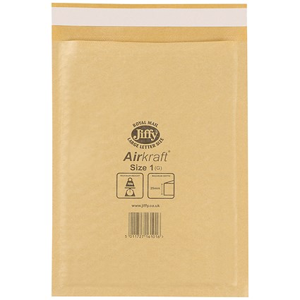 Jiffy Airkraft No.1 Bubble Bag Envelopes / 170x245mm / Gold / Pack of 100