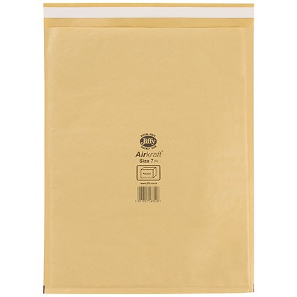 Jiffy Airkraft No.7 Bubble Bag Envelopes / 340x445mm / Gold / Pack of 50