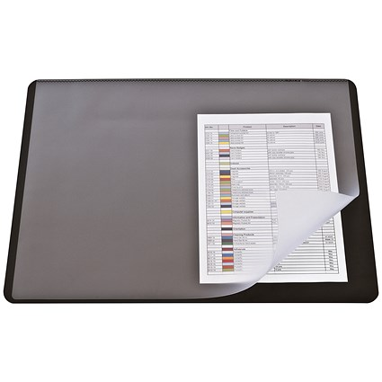 Durable Desk Mat with Transparent Overlay / W530xD400mm / Black