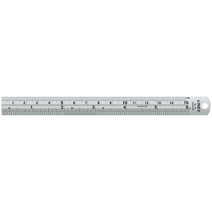 Linex Ruler Stainless Steel Imperial and Metric with Conversion Table 150mm Silver