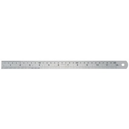 Linex Ruler Stainless Steel Imperial and Metric with Conversion Table 300mm Silver