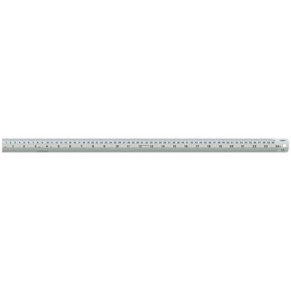 Linex Ruler Stainless Steel Imperial and Metric with Conversion Table 600mm Silver