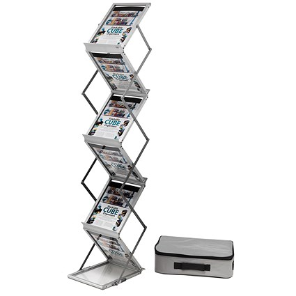 Folding Concertina Floor Stand / 6 x A4 Shelves / Silver