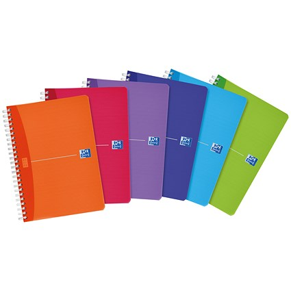Oxford Office Wirebound Notebook / A5 / 180 Pages / Random Bright Colour / Pack of 5